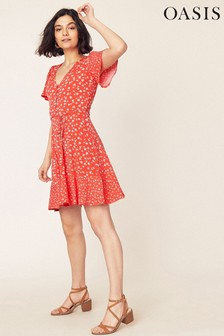 Oasis Orange Karlie Skater Dress
