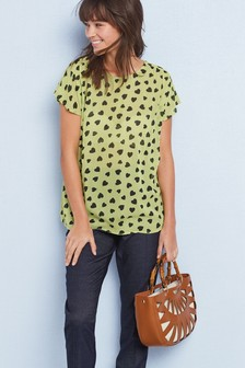 Print Frill Short Sleeve Top