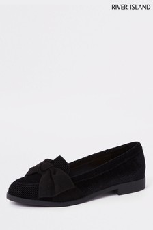 River Island Black Bow Loafer