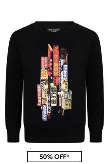 Boys Black Cotton Tokyo Print Sweatshirt