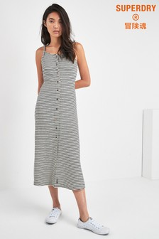 Superdry Mono Stripe Charlotte Button Down Midi Dress