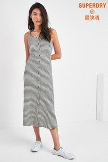 Vestido a media pierna con diseño abotonado de rayas monocromáticas Charlotte de Superdry
