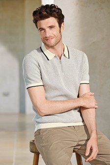 Short Sleeve Knitted Zip Neck Polo