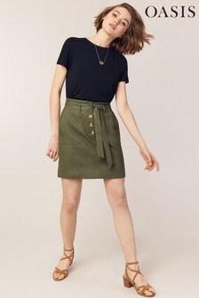 Oasis Green Belted Paperbag Linen Skirt