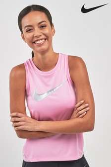 Nike Run Pink Miler Metallic Swoosh Tank