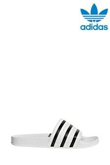 adidas Originals White/Black Adilette Sliders