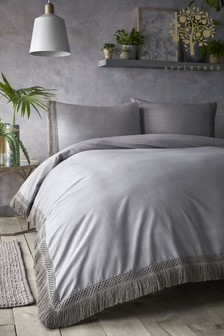 Tasha Tassels Cotton Duvet Cover And Pillowcase Set by Appletree