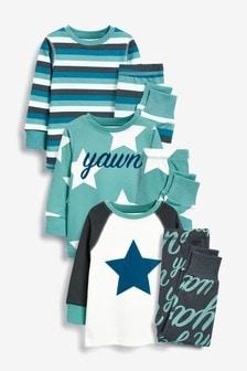 3 Pack Star Print Snuggle Fit Pyjamas (9mths-8yrs)