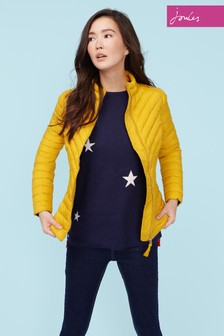 Joules Gold Elodie Chevron Quilted Jacket