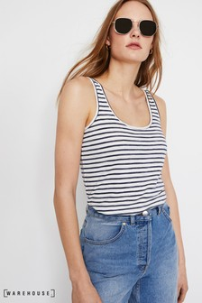 Warehouse Blue Slub Stripe Vest Top