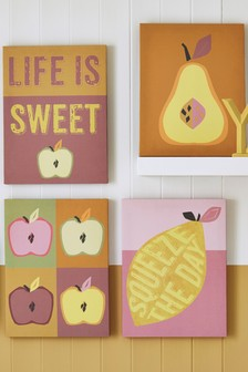 Set of 4 Retro Fruits Canvas