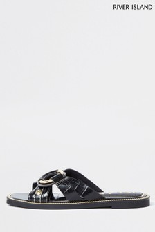 River Island Black Cross Vamp Sandals