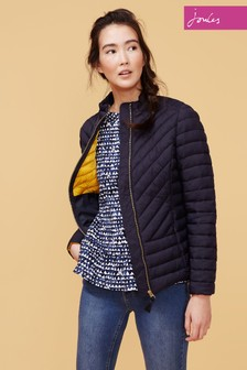 Joules Blue Elodie Chevron Quilted Jacket