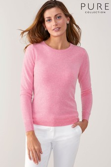Pure Collection Pink Cashmere Original Fit Crew Neck Sweater