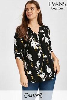 Evans Black Floral Jersey Shirt