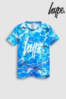 T-shirt Hype bleu à motif requin au laser