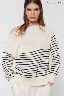 AllSaints White Breton Stripe Lightweight Jumper