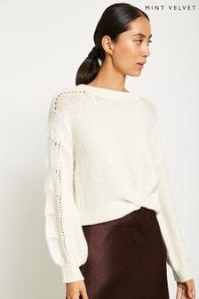 Mint Velvet Cream Stitched Balloon Knit
