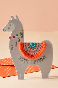 Поздравительная открытка на день рождения с ламой