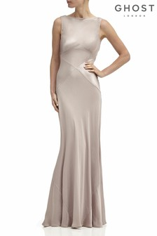 Ghost London Brown Taylor Satin Maxi Dress