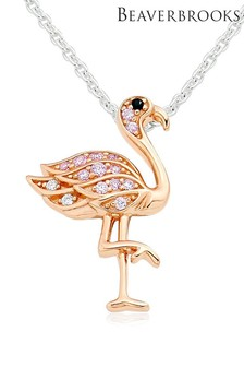 Beaverbrooks Silver And Rose Gold Plated Flamingo Pendant