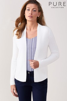 Pure Collection White Edge To Edge Cotton Cardigan