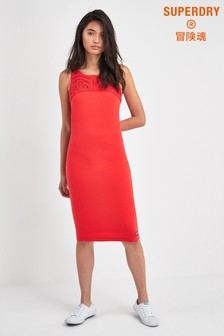 Superdry Red Ditsy Darcy Button Through Dress