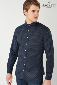 Hackett Dots And Crosses Printed Blue Shirt