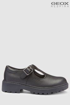 Geox Casey Girl Black Leather T-Bar Shoe