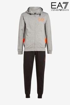 EA7 Grey/Orange Logo Tracksuit