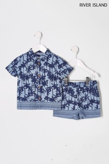 River Island Navy Denim Palm Print Shirt And Short Set