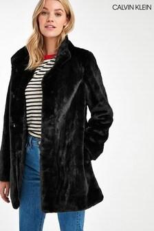 Calvin Klein Black Faux Fur Coat
