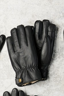 Borg Lined Leather Gloves