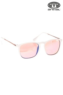 Bela ozka sončna očala z zaobljenim kvadratnim okvirjem Animal Ignite