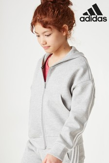 adidas Grey 3 Stripe Must Have Full Zip Hoody