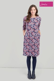 Joules Blue Beth 34 Ponte Dress With 3/4 Sleeves