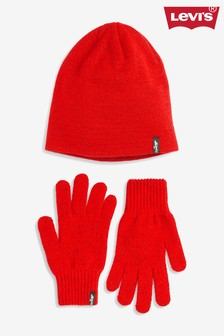 Levi's® Red Hat And Gloves Set