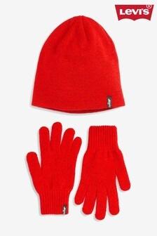 Komplet: czerwona czapka i rękawiczki Levi's®