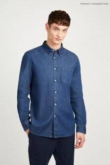 Chemise en jean coupe droite French Connection bleue