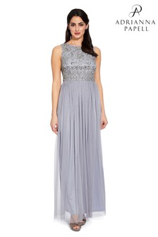 Adrianna Papell Grey Long Beaded Dress