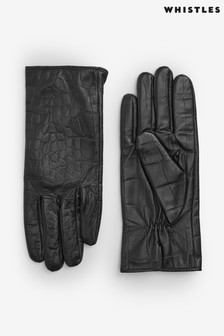 Whistles Croc Leather Gloves
