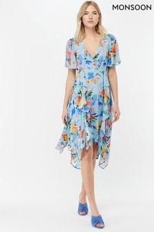 Monsoon Ladies Blue Wendy Print Hanky Hem Dress
