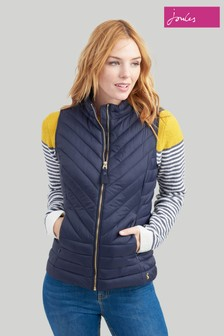 Joules Blue Brindley Chevron Quilted Gilet