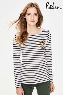 Boden Stripe And Leopard Print Long Sleeve Jersey Top