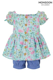 Monsoon Green Baby Floral Top and Shorts Set