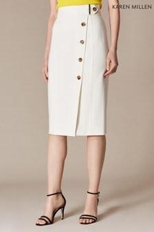 Karen Millen White Sleek & Sharp Summer Collection Skirt