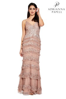 Adrianna Papell Pink Bead Mesh Dress