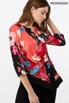 Monsoon Ladies Red Eloise Print Hanky Hem Top