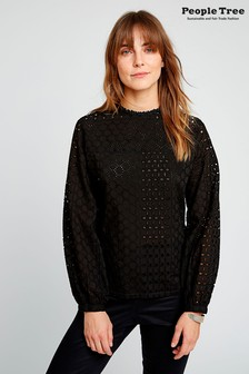 People Tree Black Organic Cotton Mia Broderie Blouse