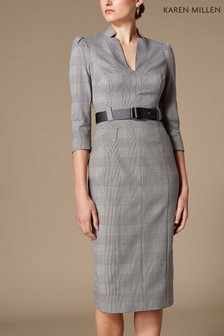 Karen Millen Grey Minimal Metalwork Check Dress